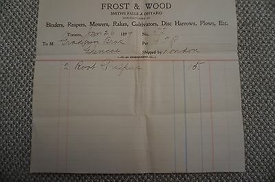 Frost & Wood Company Business Invoice - Smith's Falls, ON - Jan 26, 1899