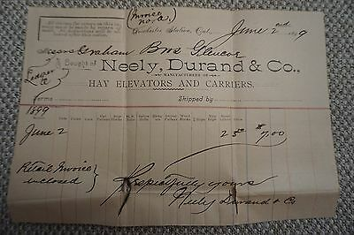 Neely, Durand & Co. Business Invoice - June 2nd, 1899 - Hay elevators & carriers