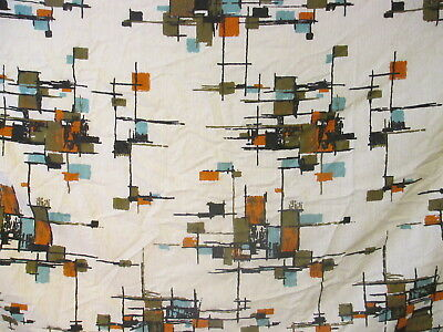 True Vintage Barkcloth Fabric late 50's early 60's Modern Design 2 yards