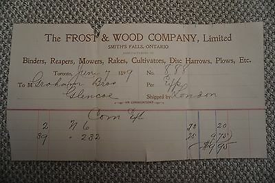Frost & Wood Company Business Invoice - Smith's Falls, ON - June 9, 1899