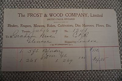 Frost & Wood Company Business Invoice - Smith's Falls, ON - July 6, 1899