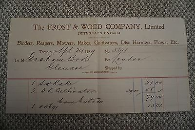 Frost & Wood Company Business Invoice - Smith's Falls, ON - April 21, 1899