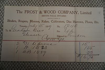 Frost & Wood Company Business Invoice - Smith's Falls, ON - July 5, 1899