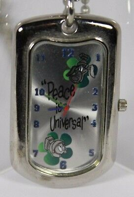 """WB Studio Store Marvin the Martian """"Peace is Universal"""" Necklace Watch - Rare"""