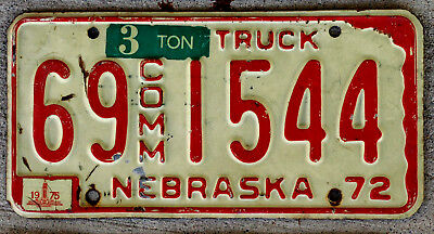 1972 Red on White Nebraska 3 Ton Commercial Truck License Plate 1975 Sticker