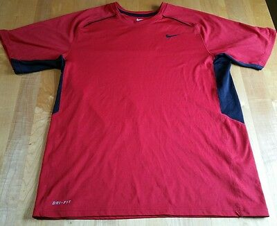Nike Dri Fit Red And Black Mens Sz M Short Sleeve Athletic Shirt