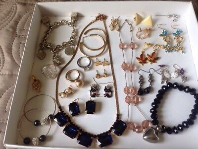 Job Lot Of Vintage & Modern Jewellery Bracelets/ Earrings/Necklace/rings Used