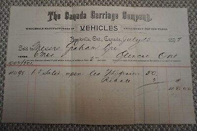 Canada Carriage Company Business Invoice - Brockville, ON - July 13, 1898