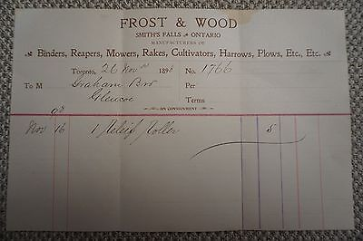 Frost & Wood Company Business Invoice - Smith's Falls, ON - Nov 26, 1898