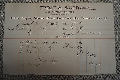 Frost & Wood Company Business Invoice - Smith's Falls, ON - April 4, 1899