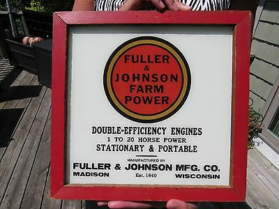 Vintage Fuller & Johnson Farm Power Engines Reverse Painted Glass Sign 2 Sided