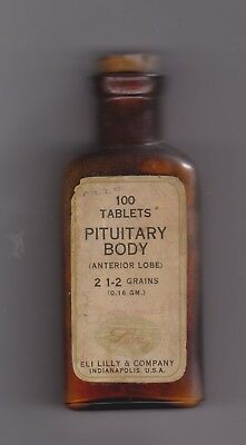 Early 20th Century Bottle of Pituitary Body Tablets 2 1/2 grains by Eli Lilly