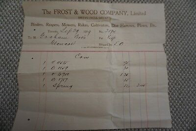 Frost & Wood Company Business Invoice - Smith's Falls, ON - Sept 29, 1899
