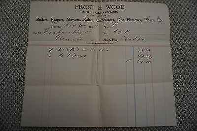 Frost & Wood Company Business Invoice - Smith's Falls, ON - Dec 23, 1899
