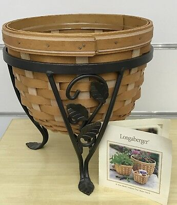 Longaberger Flora Basket with Wrought Iron Plant Stand 2004