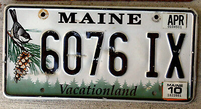 """Maine """"Chickadee and Pine-Cone"""" License Plate with a 2010 Sticker"""