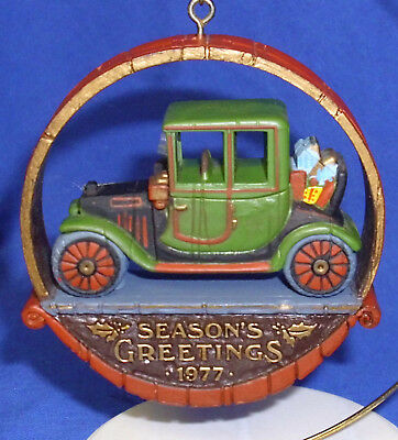 Vintage Hallmark Nostalgia Ornament Antique Car 1977 Wood Look Used No Box