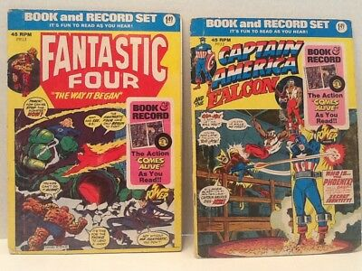 Book And Record Set 2 Book Lot: Fantastic Four And Captain America With 45 RPM R
