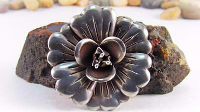 Vtg HECTOR AGUILAR Taxco Mexico Large Sterling Silver Flower Brooch Pin 28.4 Gr