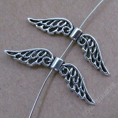 20pc Retro Tibetan Silver Charms Angel wings Spacer Beads Jewelry Findings B179P