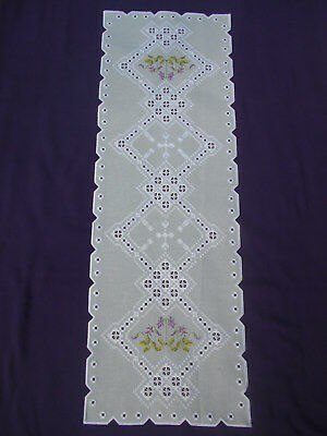 Beautiful light gray Hardanger Table Runner with Cross Stitch Violets