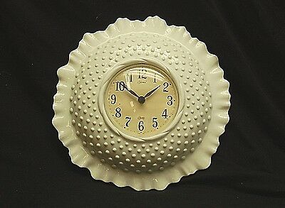 Old Vintage Homco by Burwood White Hobnail Clock Wall Hanging Decor 2684 USA
