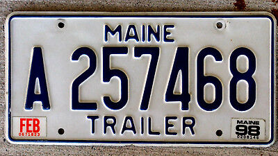 Blue on White Maine Trailer License Plate with a 1998 Sticker