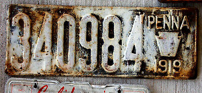 1919 Pennsylvania License Plate