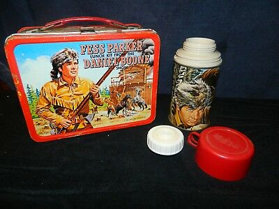 1965 Vintage Fess Parker Daniel Boone Metal Lunch Box w/Thermos & Lids Good Cond