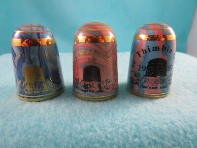 3 Jersey Bouchet Agateware Thimbles - Thimble Collector's Guild - 1987 1988 1989