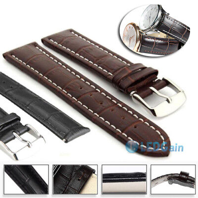 Genuine Leather Watch Strap Band Teacher Stainless Steel Buckle and Bars 18-24mm