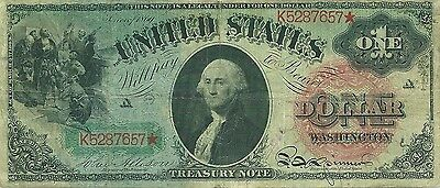 1869 $1 Legal Tender ** Rainbow Series ** One-Year Type Note ~ Solid Very Fine