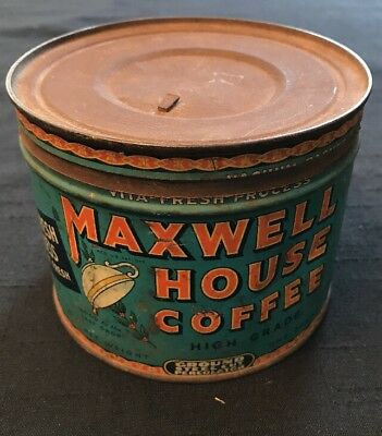 Vintage Maxwell House Coffee Tin Cannister~Key Opened~1 Pound
