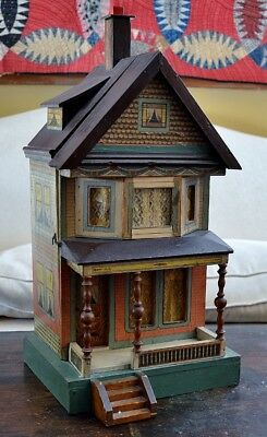 "Very Rare Large 23"" 2 Story Antique 19th c Bliss Dollhouse w/ Porch & Columns *"