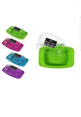 New Plastic Butter Dish Box Holder Kitchen Fridge Storage Lid Assorted Colours