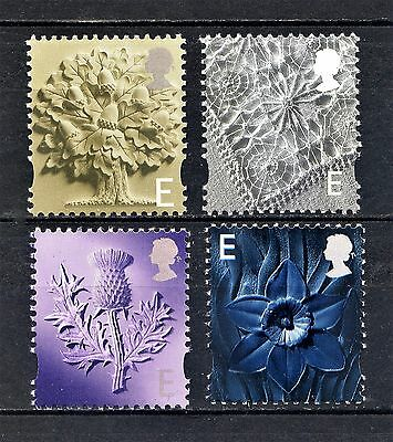 2001 COUNTRY DEFINITIVES E VALUE SINGLES SET 4v UNMOUNTED MINT