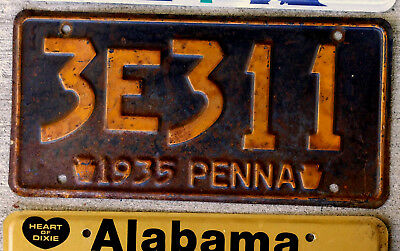 1935 Pennsylvania License Plate