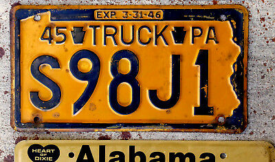 1945 Blue on Orange Pennsylvania Truck License Plate