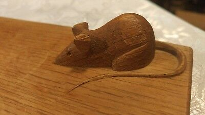 VINTAGE ANTIQUE Cheese Bread Board CARVED WOOD MOUSE Knife Holder