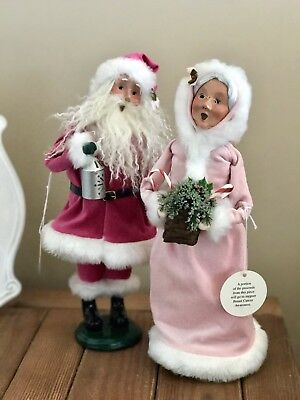 Byers Choice Pink Santa And Mrs Claus, Rare, Signed, Breast Cancer Awareness