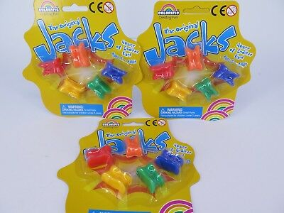3 x Colorific JACKS or KNUCKLEBONES Traditional Family Fun Game 90616* BRAND NEW