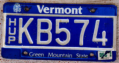 Blue with White Incused Lettering Vermont License Plate