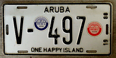1988 Aruba License Plate with a Red and a Blue Sticker