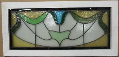"LARGE OLD ENGLISH LEADED STAINED GLASS WINDOW Cute Abstract 33.75"" x 16"""