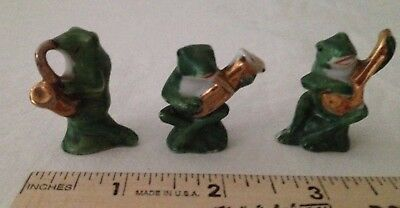 Vintage Small Ceramic Frogs with Musical Instruments, Marked Japan,