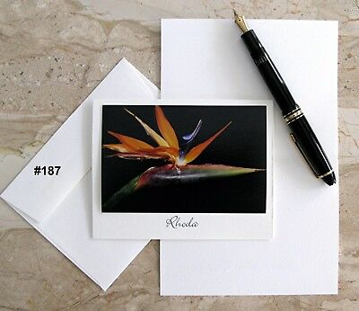 6 Personalized  Note Cards With Detachable Flower Photos #187 #236 #240