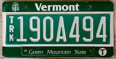 Green with White Incused Lettering Vermont Truck License Plate