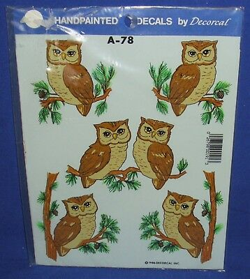 Decorcal Handpainted Decals Brown Owls Sheet of 4 1986 (A-78) Water Applied NIP