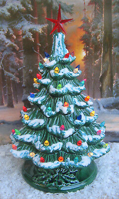 Vintage 17 Hand Painted Ceramic Christmas Tree With Lights Star Beautiful