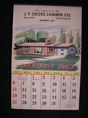1957  Mid Century Architecture Calendar 12 homes & floor plans, Moberly, Mo.